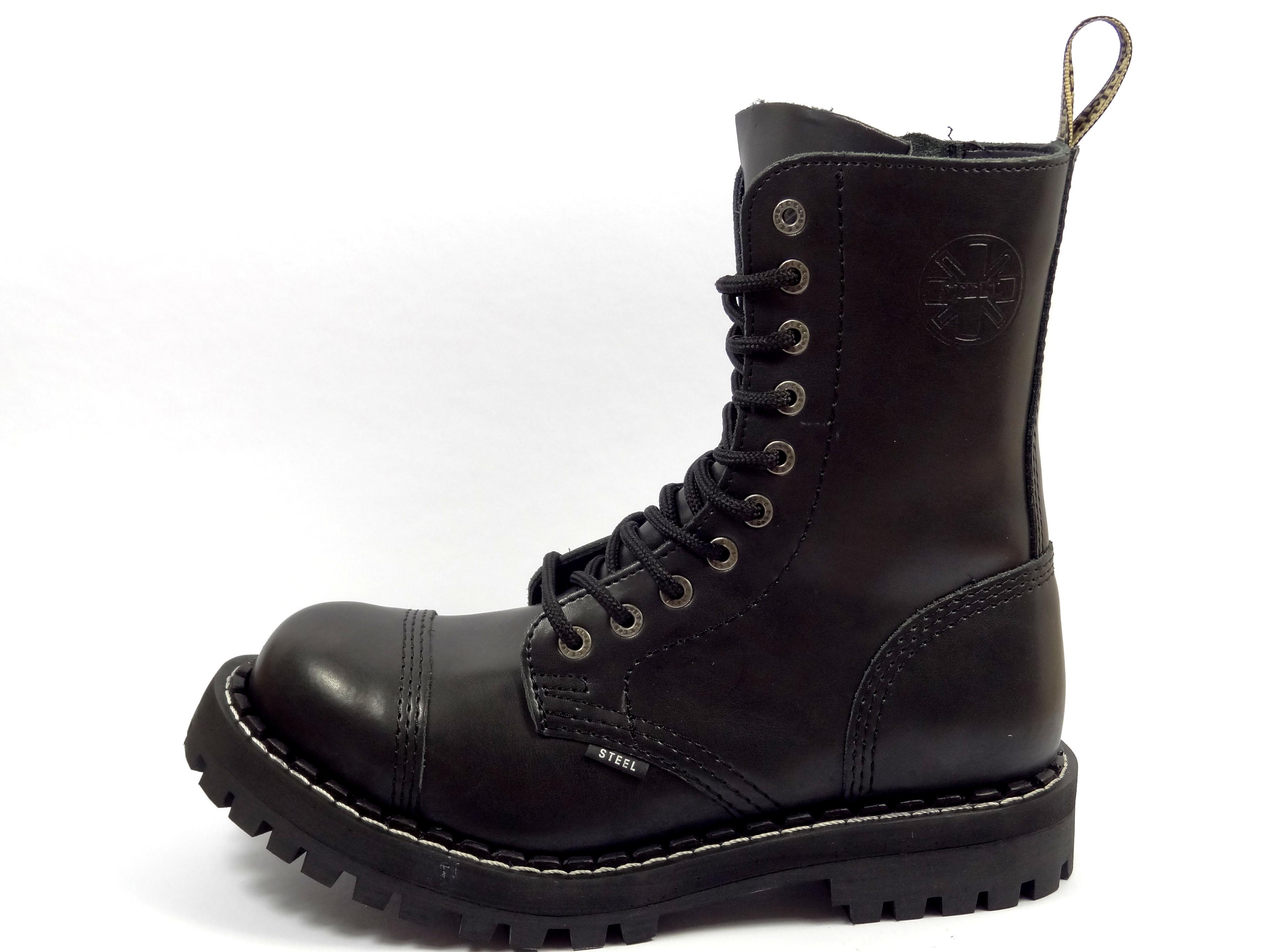 Steel boty 10 dírkové černé - se zipem - zateplené  6f94211b4c