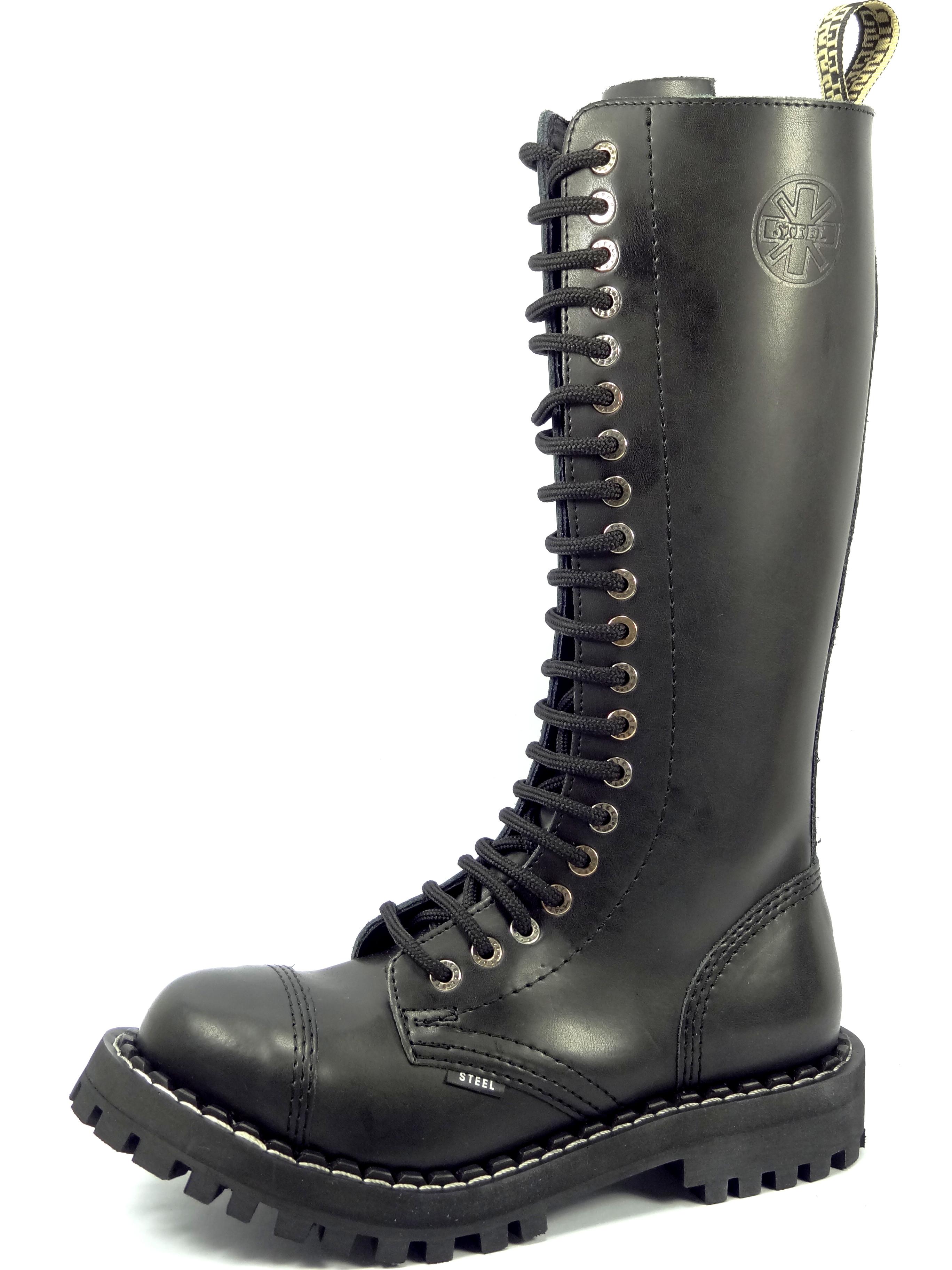 31ec721f406 Steel boty 20 dírkové černé zateplené - šněrovací se zipem