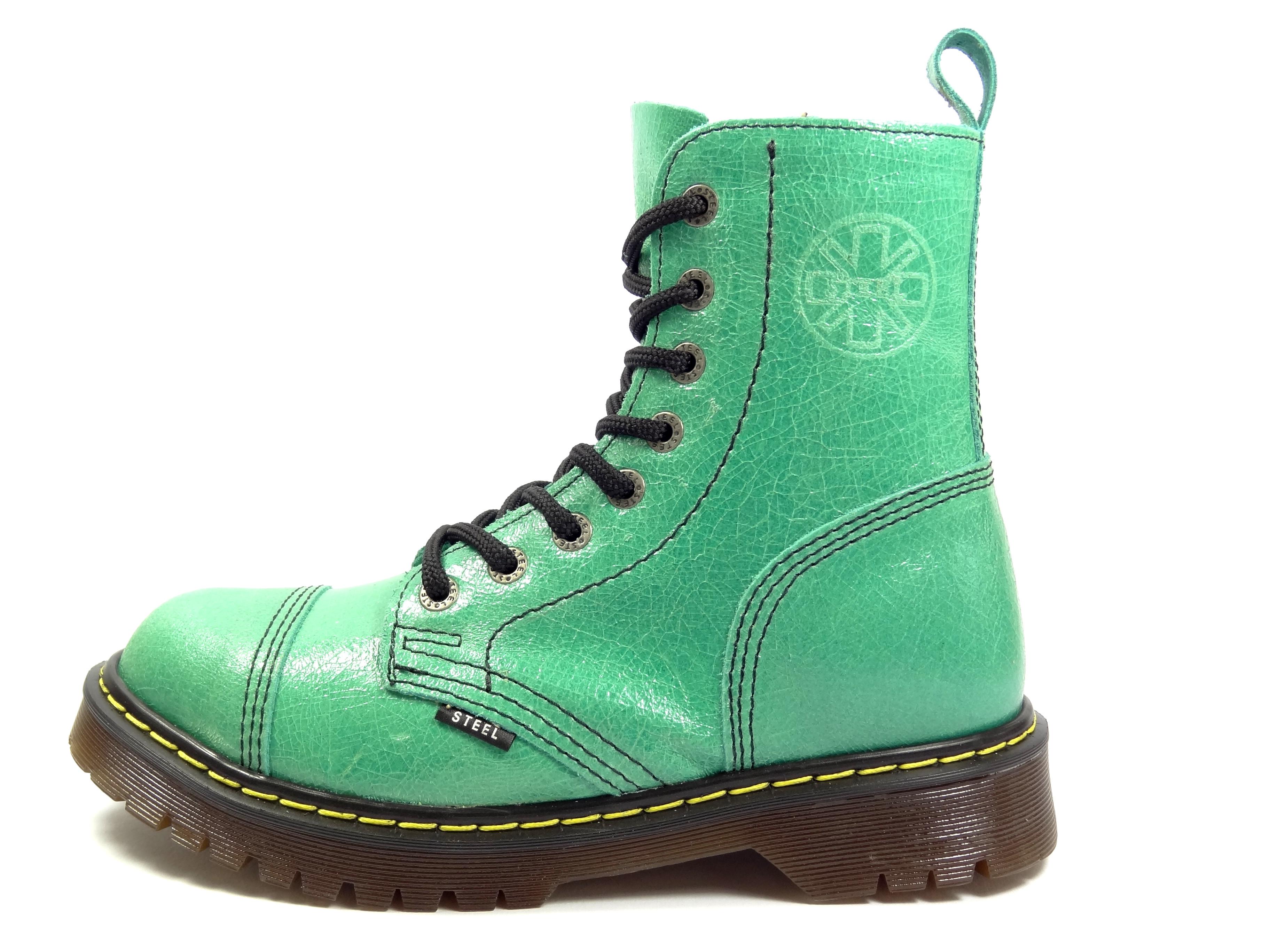 36a29bc3255 Steel boty 8 dírkové D37 tyrkysově zelené - bez ocelové špičky