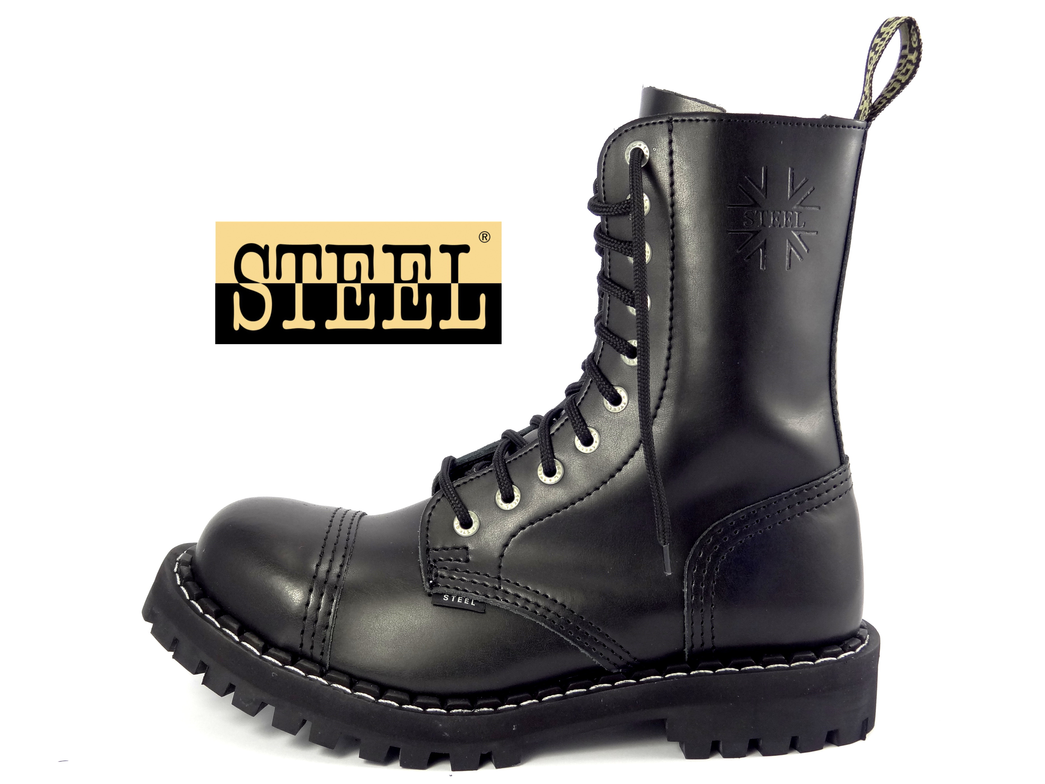 Steel boty 10 dírkové černé  9032e5bd5b