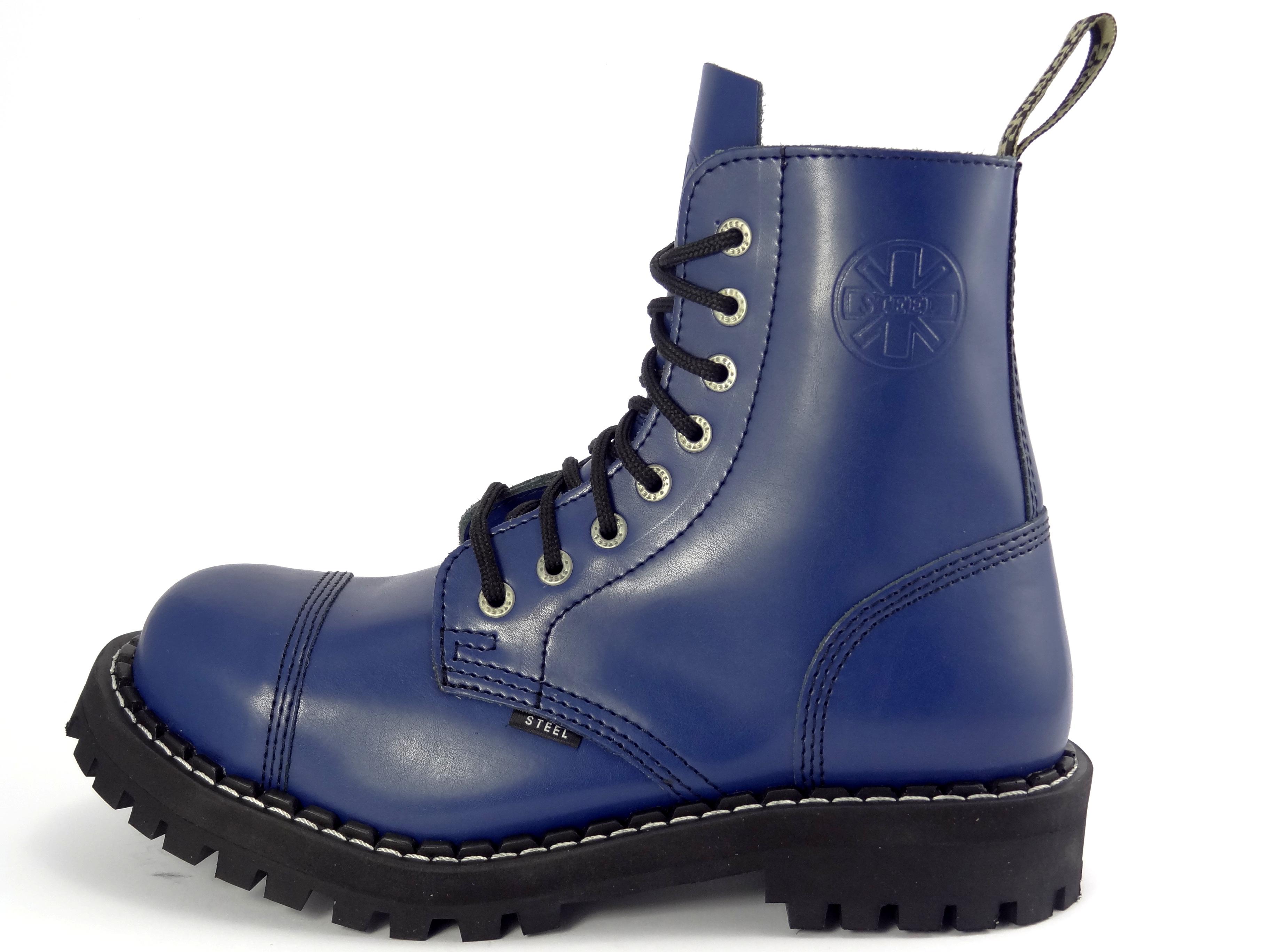Akce. Steel boty 8 dírkové plné modré 0eee81cba4
