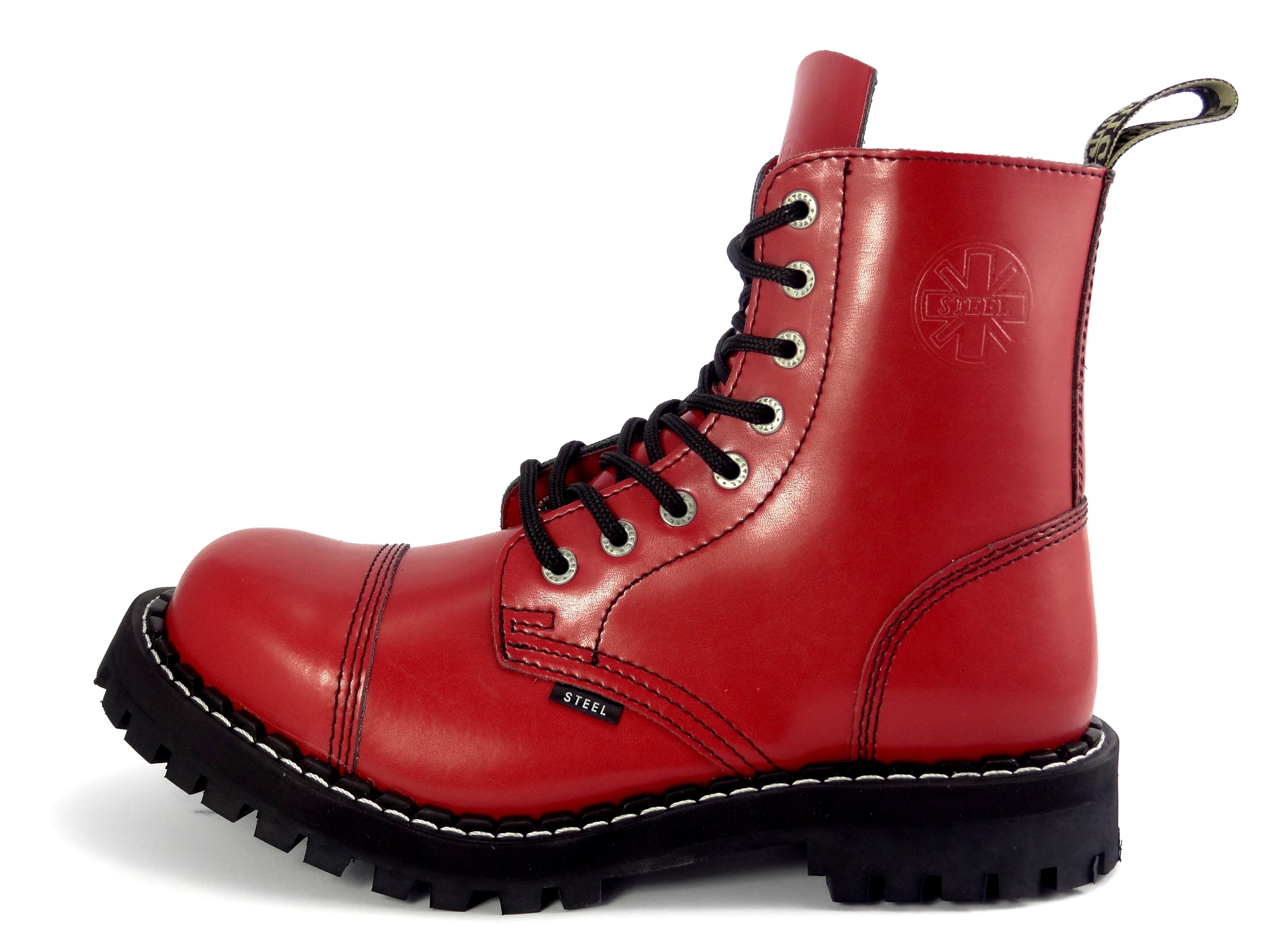 ec0150c7086 Steel boty 8 dírkové plné červené