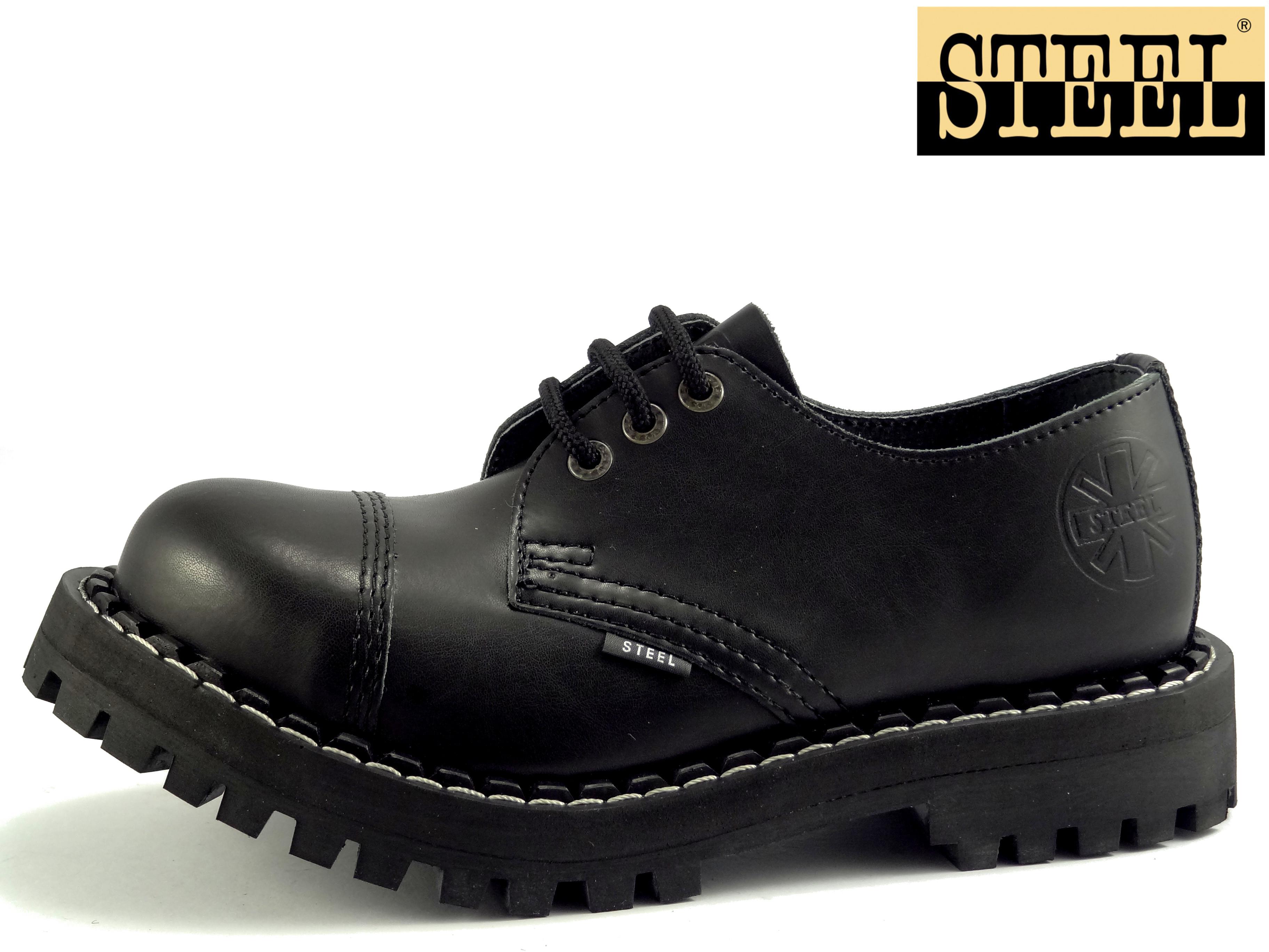 Steel boty 3 dírkové černé  ee474edde1