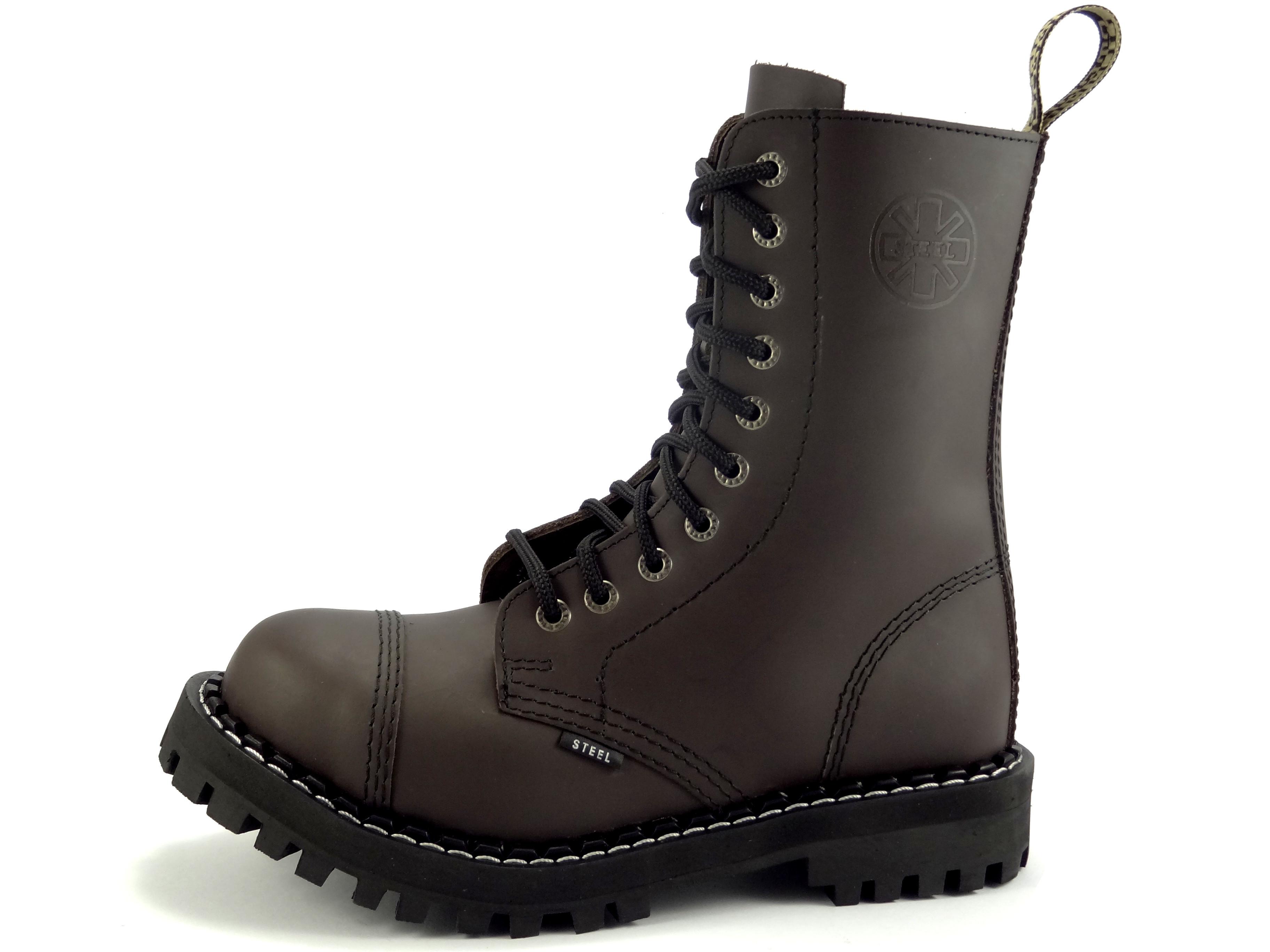 bef50f58b9a Steel boty 10 dírkové hnědé