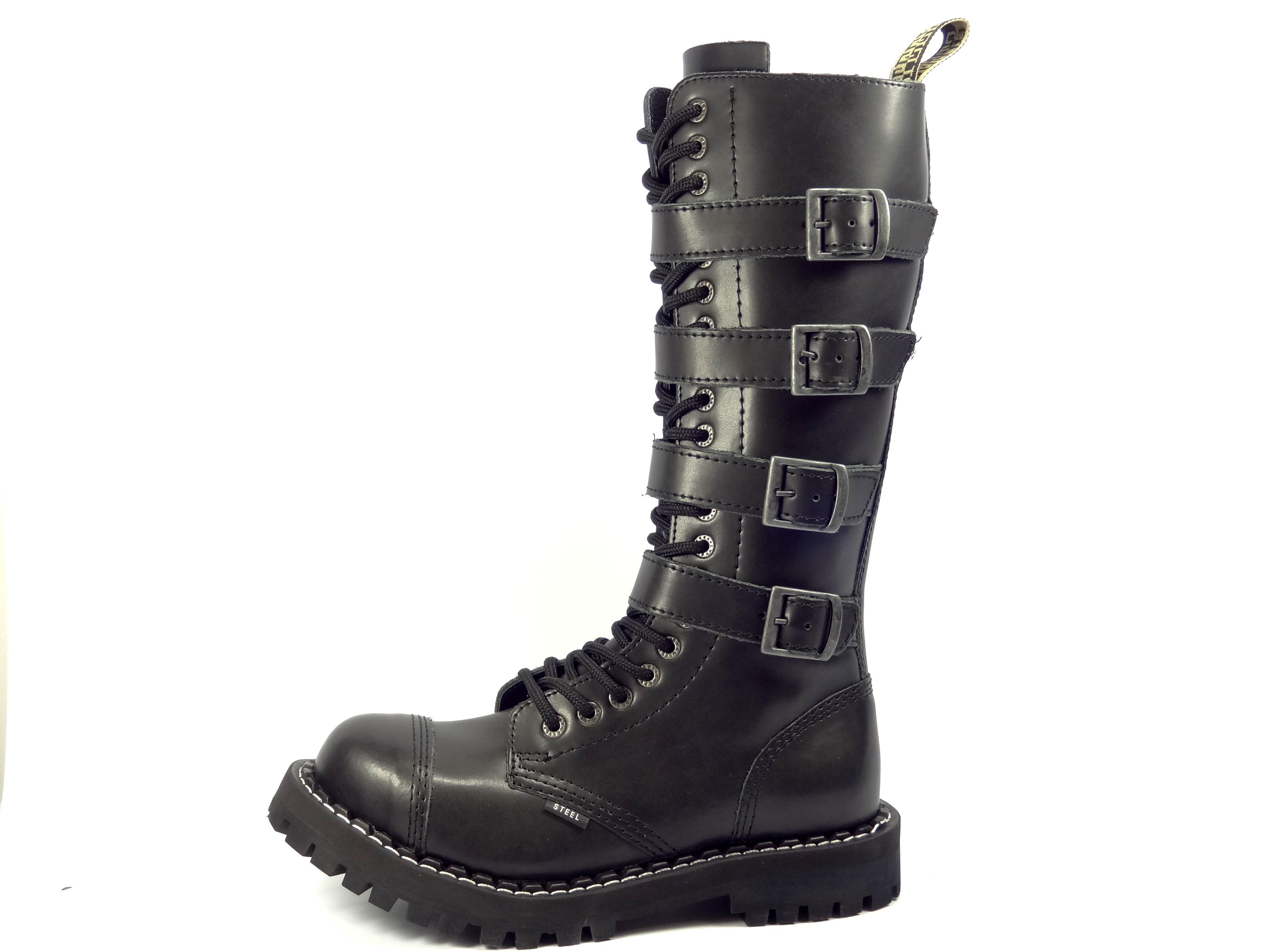 Steel boty 20 dírkové černé - šněrovací se zipem a přezkami  5c3a4fa827